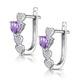 0.64ct Amethyst and Diamond Stellato Heart Earrings in 9K White Gold - image 3