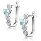 0.60ct Aquamarine and Diamond Heart Stellato Earrings - 9K White Gold - image 3