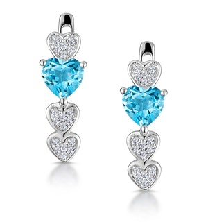 Swiss Blue Topaz and Diamond Heart Stellato Earrings in 9K White Gold