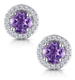 0.64ct Amethyst and Diamond Halo Stellato Earrings in 9K White Gold