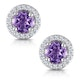 0.64ct Amethyst and Diamond Halo Stellato Earrings in 9K White Gold - image 1