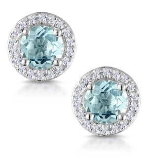 0.69ct Aquamarine and Diamond Halo Stellato Earrings in 9K White Gold