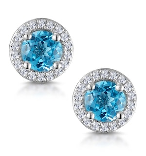 Swiss Blue Topaz and Diamond Halo Stellato Earrings in 9K White Gold