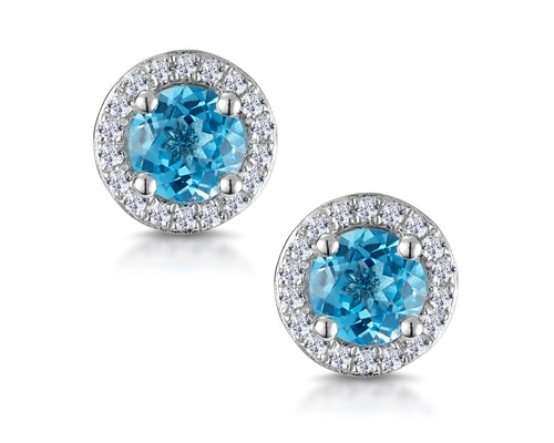 Blue Topaz and Diamond Halo Earrings