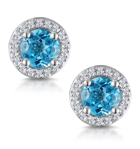 Swiss Blue Topaz and Diamond Halo Stellato Earrings in 9K White Gold - image 1