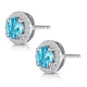 Swiss Blue Topaz and Diamond Halo Stellato Earrings in 9K White Gold - image 3
