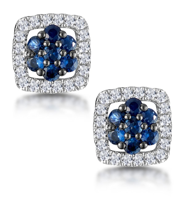 Sapphire and Diamond Earrings in 9K White Gold - Stellato Collection - image 1