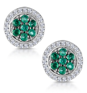 0.30ct Emerald and Diamond Stellato Earrings in 9K White Gold