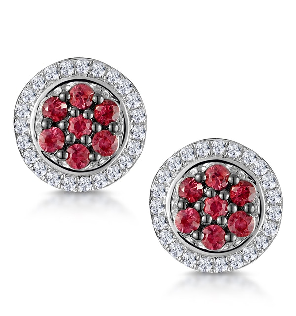 0.33ct Ruby and Diamond Stellato Earrings in 9K White Gold - image 1