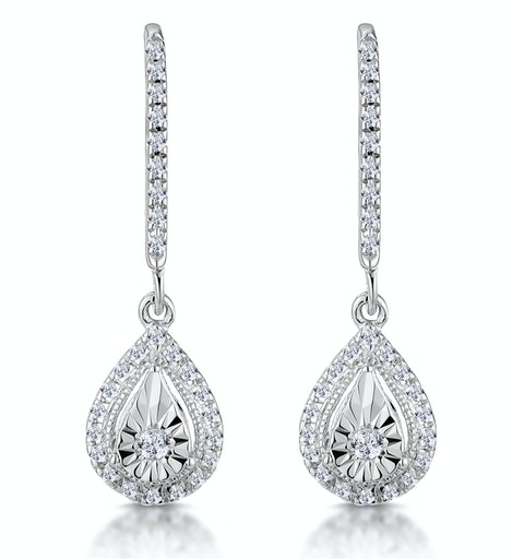 Masami Diamond Pear Halo Earrings 0.20ct Pave Set in 9K White Gold - image 1