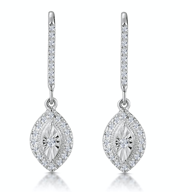 Masami Diamond Marquise Earrings 0.20ct Pave Set in 9K White Gold - image 1