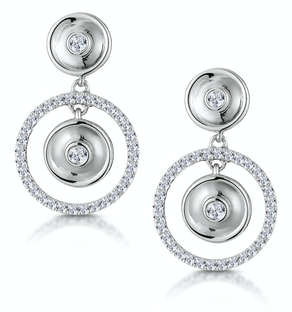 Masami Diamond Halo Circles Earrings 0.33ct Set in 9K White Gold - image 1