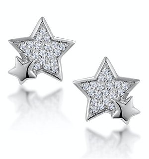 Shooting Star Diamond Earrings Stellato Collection in 9K White Gold