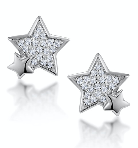 Shooting Star Diamond Earrings Stellato Collection in 9K White Gold - image 1
