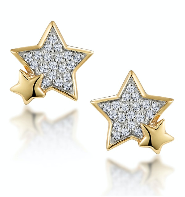 Shooting Star Diamond Earrings Stellato Collection in 9K Gold - image 1
