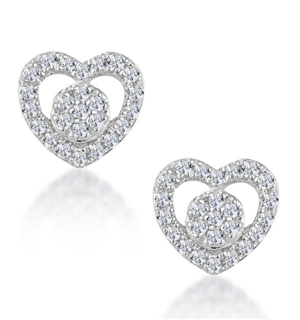 Diamond Heart Solitaire Stellato Earrings in 9K White Gold - image 1