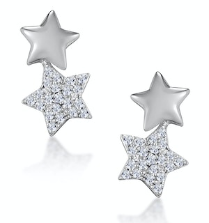 Diamond 2 Stars Stellato Earrings in 9K White Gold