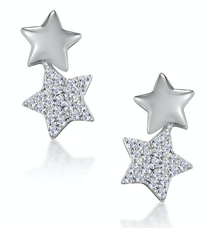 Diamond Star Earrings You and Me Stellato Collection in 9K White Gold