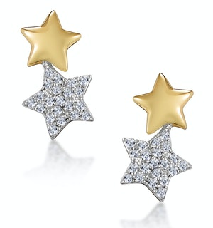 Diamond 2 Stars Stellato Earrings in 9K Gold
