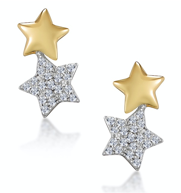 Diamond 2 Stars Stellato Earrings in 9K Gold - image 1