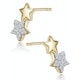 Diamond 2 Stars Stellato Earrings in 9K Gold - image 2