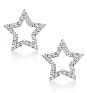Diamond Stellato Star Earrings in 9K White Gold