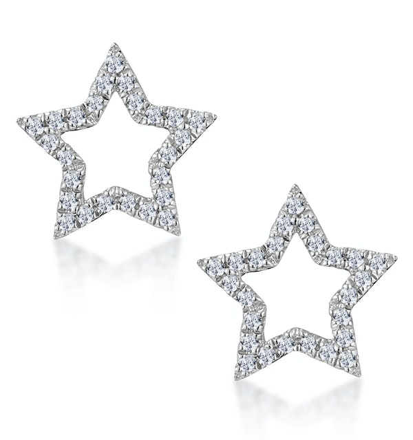 Diamond Stellato Star Earrings in 9K White Gold - image 1