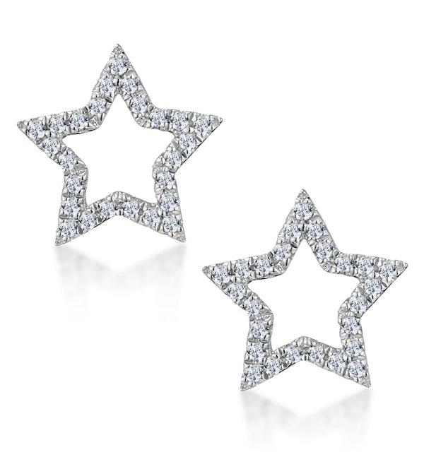 Diamond Stellato Star Earrings in 9K White Gold - image 1