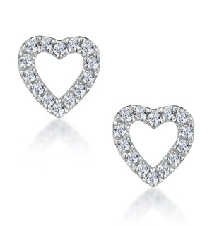 Stellato Diamond Heart Earrings in 9K White Gold