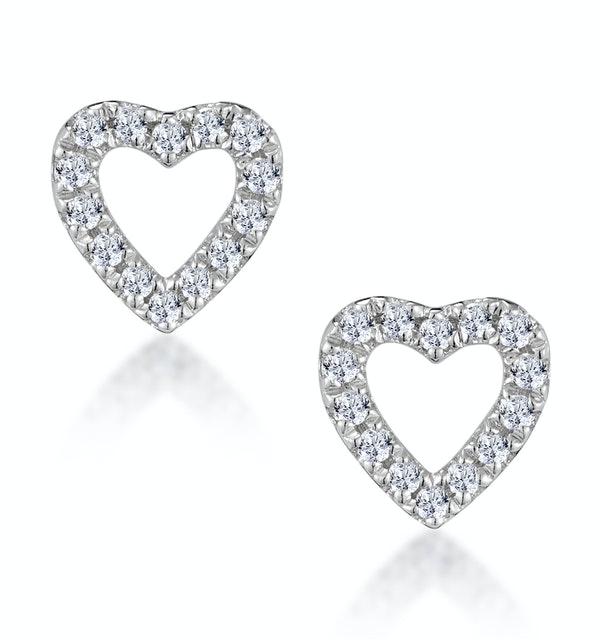 Stellato Diamond Heart Earrings in 9K White Gold - image 1