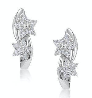 Stellato Twin Stars Diamond Earrings in 9K White Gold