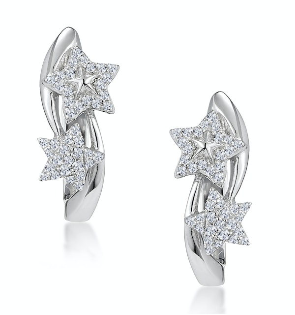 Stellato Twin Stars Diamond Earrings in 9K White Gold - image 1