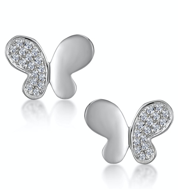 Stellato Butterfly Diamond Earrings in 9K White Gold - image 1