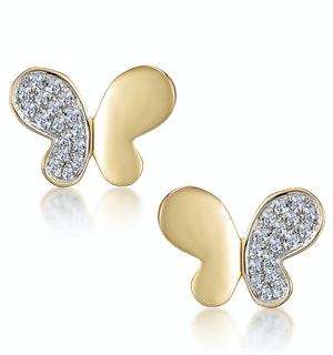 Stellato Butterfly Diamond Earrings in 9K Gold
