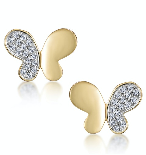 Stellato Butterfly Diamond Earrings in 9K Gold - image 1
