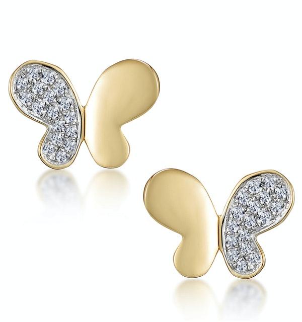 Stellato Butterfly Diamond Earrings in 9K Gold - image 1