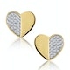 Stellato Collection Pave Diamond Heart Earrings in 9K Gold - image 1