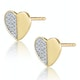 Stellato Collection Pave Diamond Heart Earrings in 9K Gold - image 2