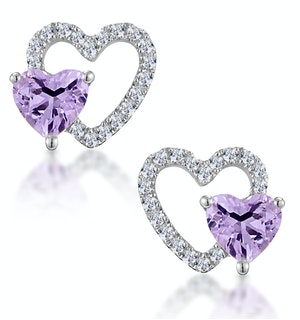 0.43ct Amethyst and Stellato Diamond Heart Earrings in 9K White Gold