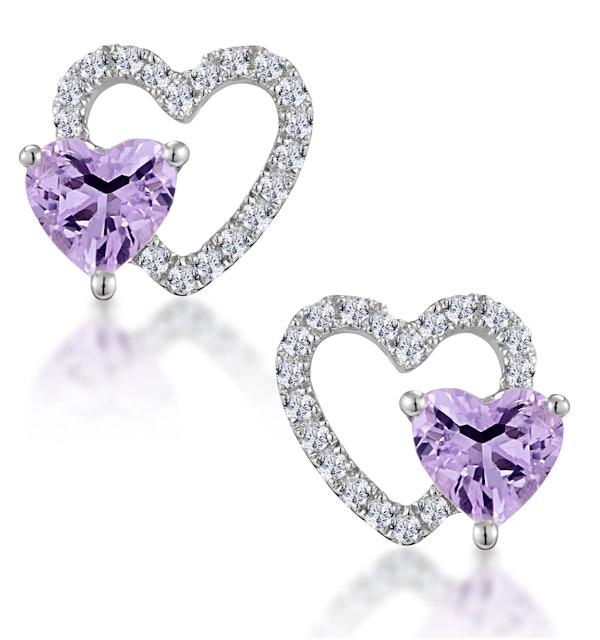 0.43ct Amethyst and Stellato Diamond Heart Earrings in 9K White Gold - image 1