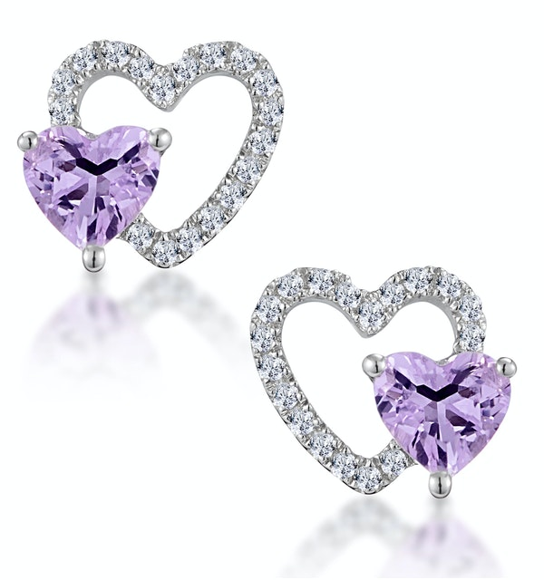 0.43ct Amethyst and Stellato Diamond Heart Earrings in 9K White Gold - image 1