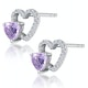 0.43ct Amethyst and Stellato Diamond Heart Earrings in 9K White Gold - image 2
