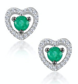 Emerald and Diamond Stellato Heart Earrings in 9K White Gold