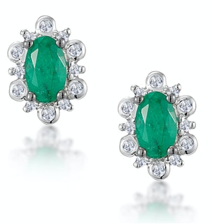 0.50ct Emerald and Diamond Stellato Cluster Earrings in 9K White Gold