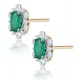 0.50ct Emerald and Stellato Diamond Cluster Earrings in 9K Gold - image 2