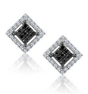 Diamond and Stellato Black Diamond Squares Earrings in 9K White Gold