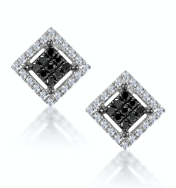 Diamond and Stellato Black Diamond Squares Earrings in 9K White Gold - image 1