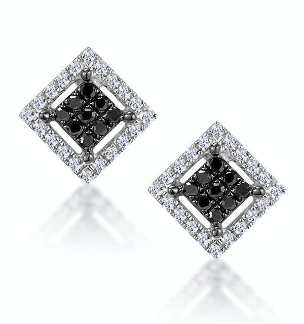 Diamond and Stellato Black Diamond Squares Earrings in 9K White Gold - image 1