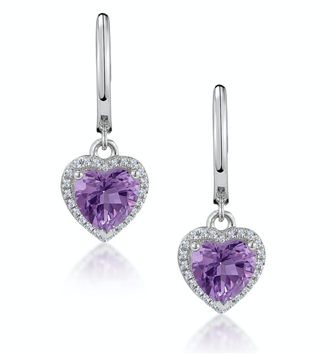 Stellato Amethyst and Diamond Pave Heart Earrings in 9K White Gold - image 1
