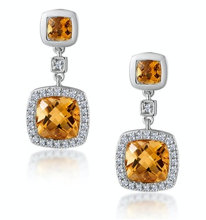 Stellato 2.30ct Citrine and Pave Diamond Earrings in 9K White Gold